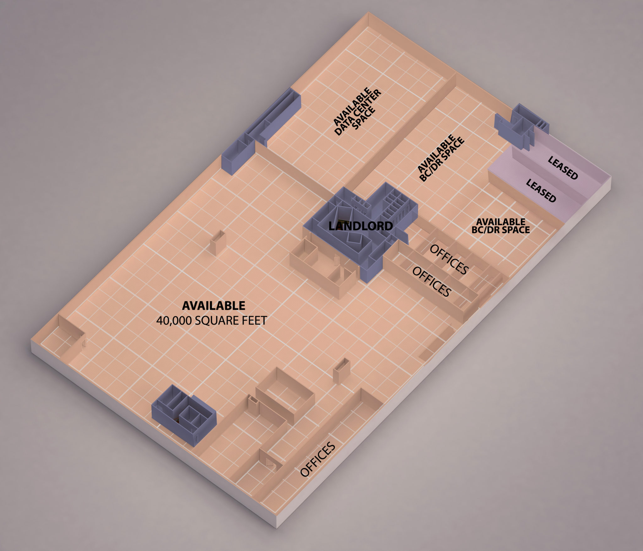 2nd floor floor plan of fifteenfortyseven's Orangeburg, New York Data Center