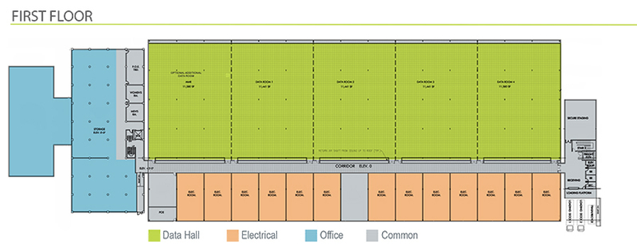 San Francisco, California Data Center floor plan - 1st Floor