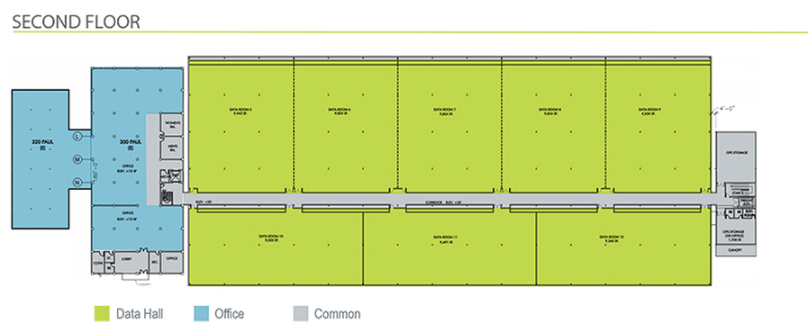 San Francisco, California Data Center floor plan - 2nd Floor